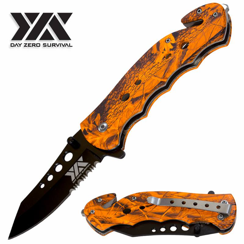 Day Zero Survival Spring Assisted Open Camo Outdoor Rescue Pocket Knife