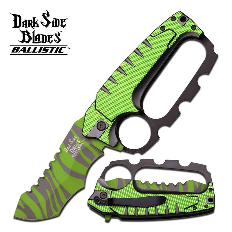 Dark Side Blades 5.25 Inches Green Kunkle Handle Spring Assisted KNIFE