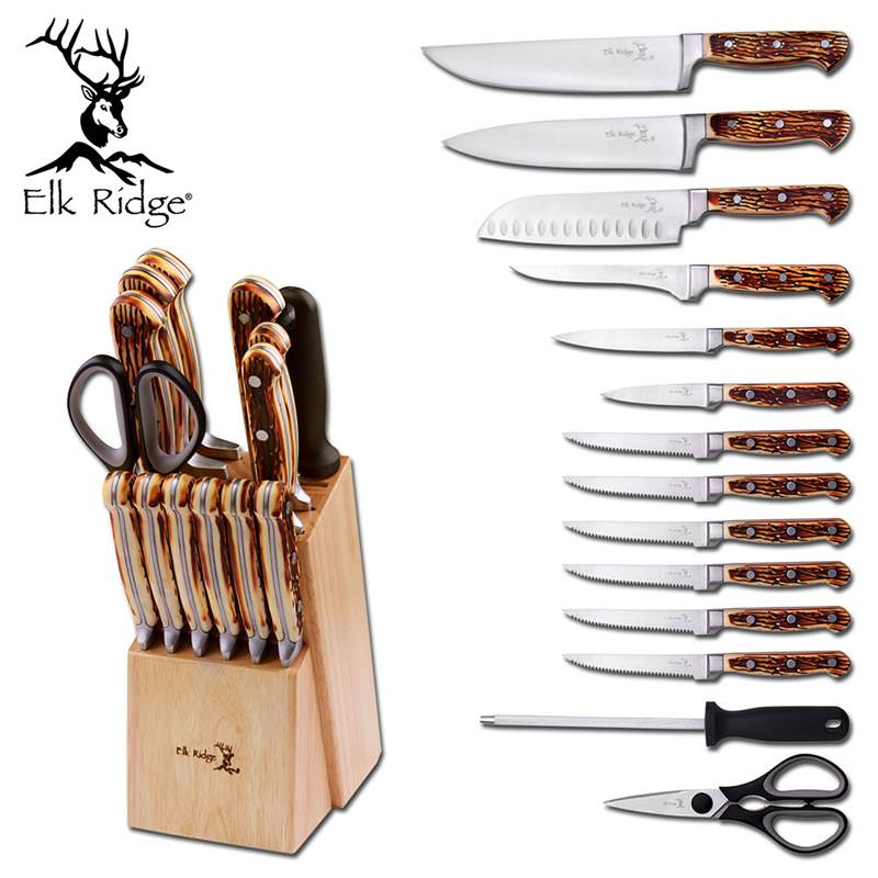 Elk Ridge 15 Piece Kitchen Cutlery KNIFE Set And Block Stainless Steel Chef Knives