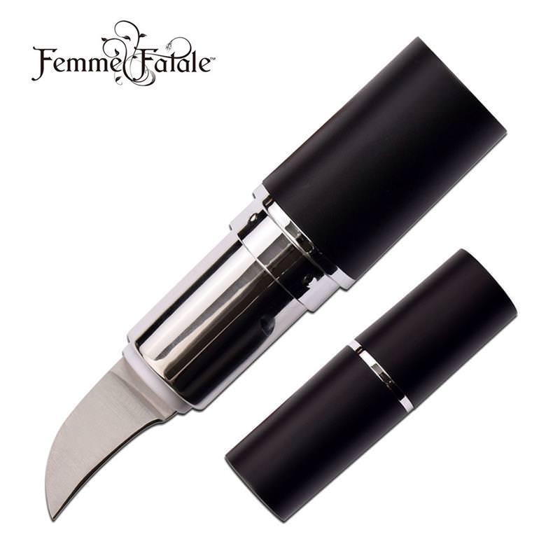 ''Lipstick Hidden KNIFE Black 2.75'''' Concealed 1'''' Blade Self Defense''