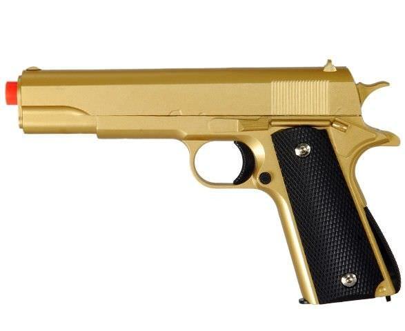 M1911 Replica Full Metal Two Tone Gold & Black Airsoft Spring Pistol 6MM BB GUN