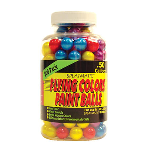 200 Flying Colors Colors .50 Caliber PAINTBALLs Jar SPLATMATIC