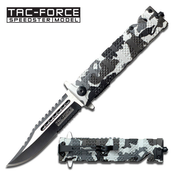Spring Assist - 'Legal Auto Knife' - Snow Camo Tactical Rescue Fighter