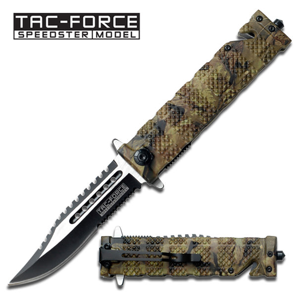 Spring Assisted Folding Knife Forest Camo Serrated Rescue Blade