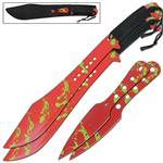 Blood Red Zombie Killer War Games Twin Machete Thrower Set Combo