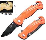 Orange Rescue Spring Assist Folding Knife With Whistle and Belt Hook