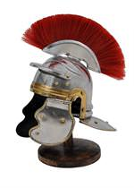 Miniature Roman Imperial Centurion Historical Helmet With Red Plume & Display Stand