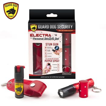3 Million Volt Concealed Lipstick Stun Gun + Pepper Spray Gift Set Red