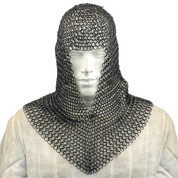 Medieval Face Blackened Steel Chainmail Coif Armor