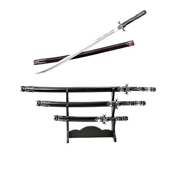 Futuristic Samurai Sword 3 pc Set with Display Stand