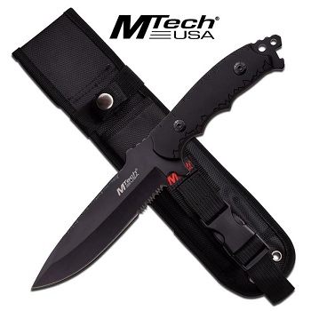 MTech Black Fixed Blade Hunting Knife Tactical Combat Outdoor Bowie