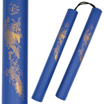 12 Inch Blue Foam Padded Nunchaku with Dragon Graphic - Rope Version