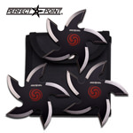 3 PC Curved Black Ninja Throwing Stars Set Shuriken With Pouch