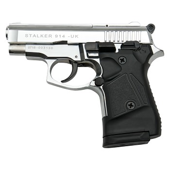 Stalker 914 Chrome Finish - 9mm Blank Firing Replica Zoraki Gun