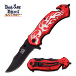 Red Skull Flame Tactical Hunting Rescue Spring Assist Pocket Knife
