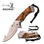 Camo Aluminum Handle Spring Assisted Guthhook Knife