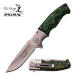 Green Wood Handle Satin Blade Spring Assist Assisted Knife