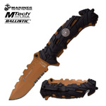 USMC Marines Tactical Folding Spring Assist Knife Serrated Desert Tan