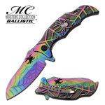 Rainbow Spider Web Spring Assist Assisted Knife Ti-Acid Etch Blade