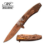 Copper Rose Ti Finished Wolf Spring Assist Folder Knife