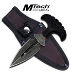 5MM Thick Blade Black Handle Push Dagger
