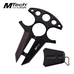 Tactical Double Edge Neck Knife Black Handle with Finger Ring Holes