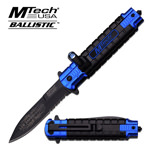 Blue LED SOS Rescue Spring Assist Assisted Knife Law Enforcement