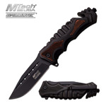 MTech Tactical Rescue Spring Assist Knife PakkaWood Insert Handle