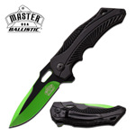 Ballistic Assisted Spring Action Opening Knife - Black Green Blade