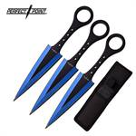 Perfect Point 7.5 Inch 3 Piece Throwing Knife Set Blue Electro Plated and Black Blade