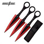 Perfect Point 7.5 Inch 3 Piece Throwing Knife Set Red Electro Plated and Black Blade