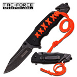 Tac Force Rescue Spring Assist Knife Stonewash Stainless Steel Blade
