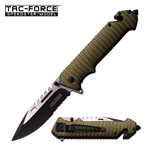 Tactical Folding Pocket Knife Assisted Open Rescue Army Green