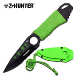 7 Inch Stainless Steel Neck Knife With Green Paracord Wrapped Handle