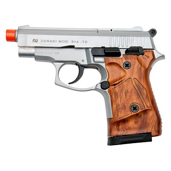 Zoraki Front Fire M914 Silver With Wood Grips 9mm Blank Gun