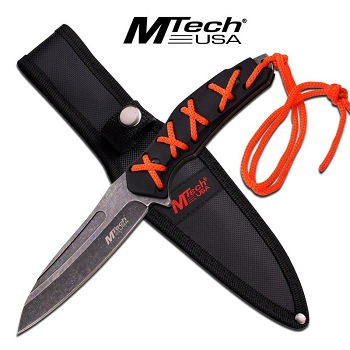 MTech Fixed Blade Knife 8.5 Inches With Orange Wrap Black Handle