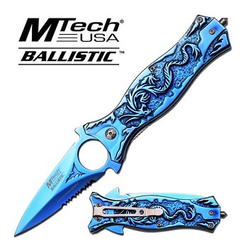 Mtech Ballistic 4.5 Inch Spring Assisted Folding Knife - Blue Titanium Dragon Handle