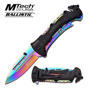 Mtech USA Ballistic Tactical Action Spring Assisted Knife - Rainbow Finish Blade