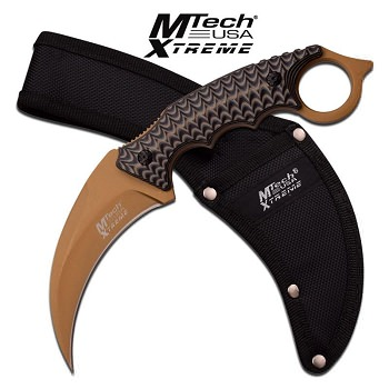 Mtech USa Xtreme Green Titanium Fixed Blade Karambit Knife