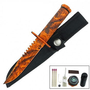 Fixed Blade Sawback Survival Knife 8.5 Inch - Orange Camo