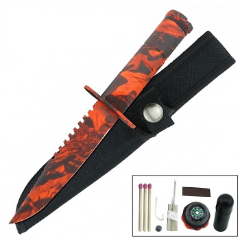Fixed Blade Sawback Survival Knife 8.5 Inch - Red Camo