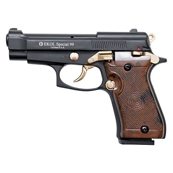 Special 99 V85 Blank Firing Gun Replica Black With Gold Fittings