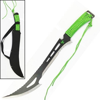 Renegade Zombie Killer Machete With Sheath Green