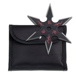 "Black Stainless Steel 6 Point ""Dragon"" Throwing Star With Pouch - 4MM Thick"