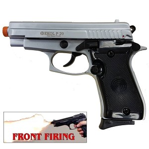 P29 Semi Automatic Front Firing Blank Pistol Nickel Finish