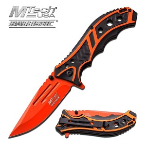 Mtech 3.5 Inch Closed Orange Blade Assisted Opening Folding Knife