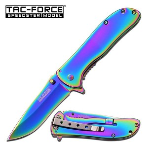 Speedster Model Spring Assisted Folding Knife Rainbow Titanium