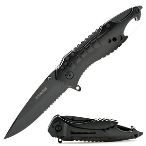 Spring Assist Black Shark Tactical Combo Edge Rescue Knife