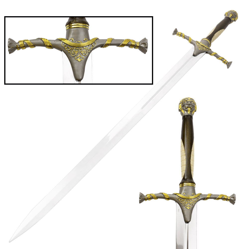 medieval collective the lion fantasy long sword with display wall plaque