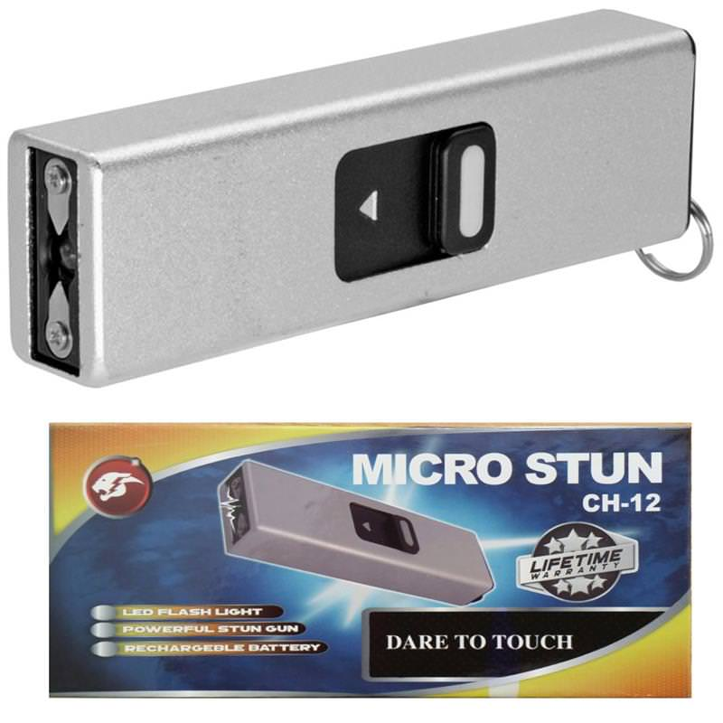Micro Usb Self Defense Silver Stun Gun Rec Hargeable Led Light